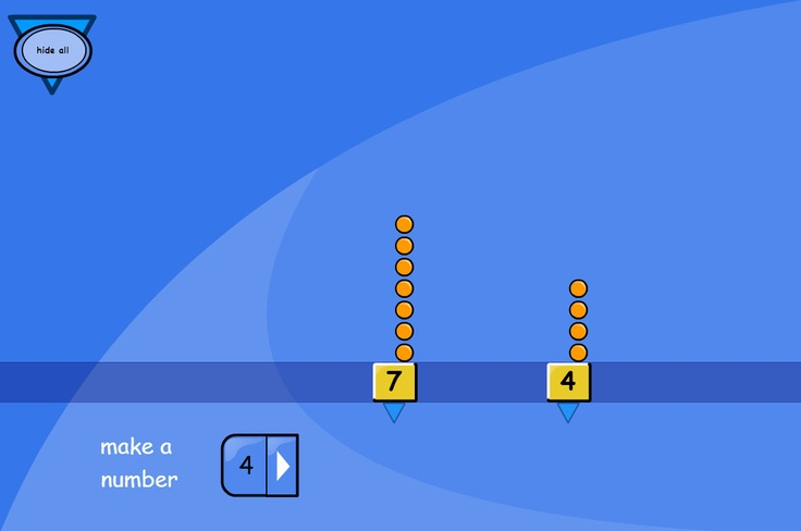 Visual Numbers: A tool for helping children understand number by relating the number of spots to the digit on the card.