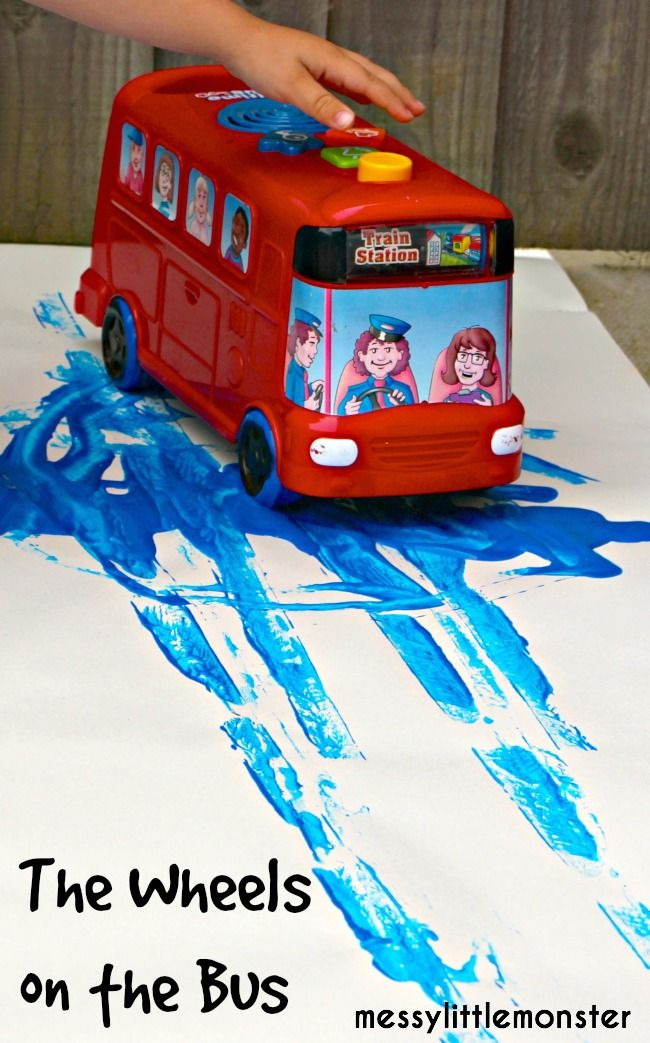 Messy Little Monster: Wheels on the bus process art