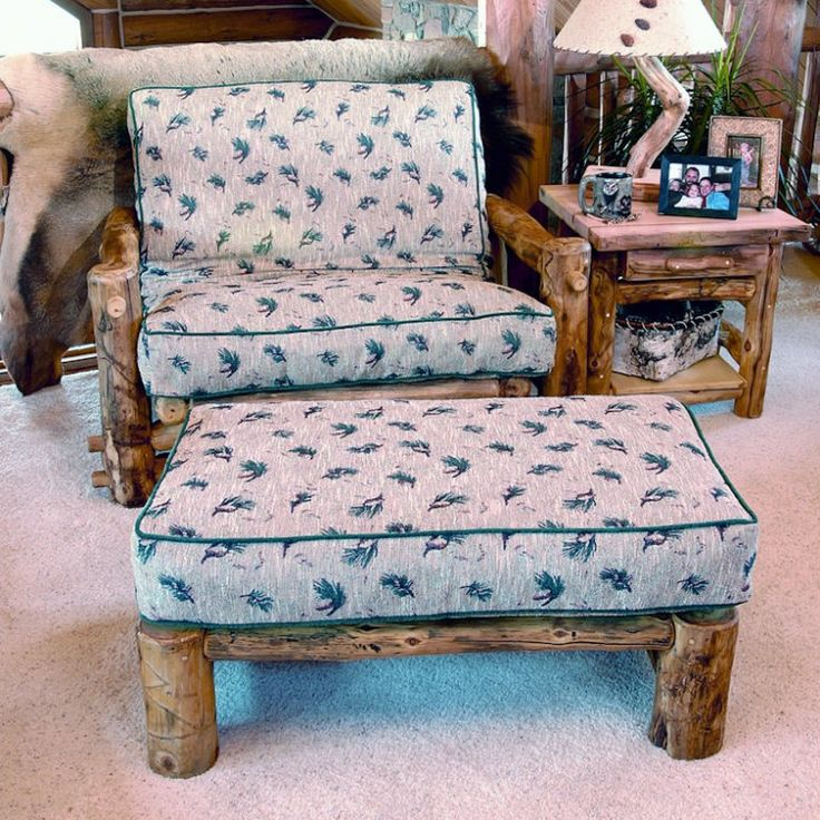 Aspen Mountain Log Twin Futon Chair And Ottoman By Woods
