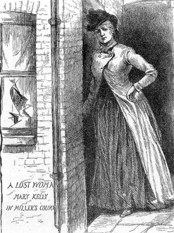"""Mary Jane Kelly (c. 1863 – 9 November 1888), also known as """"Marie Jeanette"""" Kelly, """"Fair Emma"""", """"Ginger"""" and """"Black Mary"""", is widely believed to be the fifth and final victim of the notorious unidentified serial killer Jack the Ripper, who killed and mutilated prostitutes in the Whitechapel area of London from late August to early November 1888."""