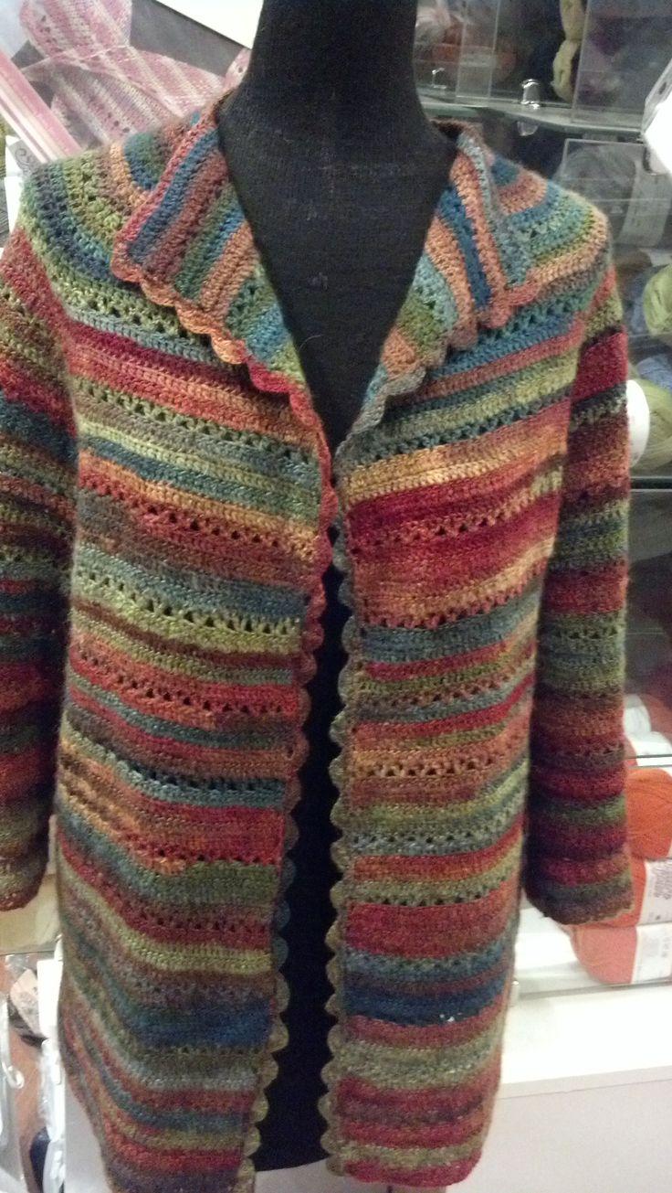 Crochet Jacket with my handspun wool/silk
