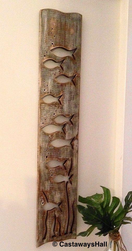Wood School of Fish Art Panel Sign Wall Decor Vertical
