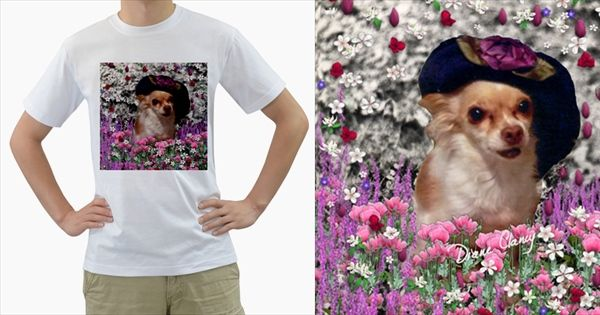 Chi+Chi+In+Flowers,+Chihuahua+Puppy+In+Cute+Hat+Men's+T+Shirt+(white)++Men's+T-Shirt+(White)+