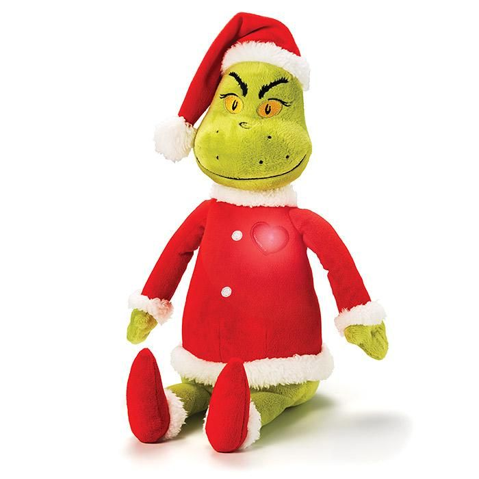 "He's mean, green and totally snuggle-worthy! The Grinch Light-Up Singing Plush lights up as he plays the song, ""You're a Mean One, Mr. Grinch."" This great plush is straight from the North Pole.Go full on Grinch with The Grinch Mini Plush.FEATURES• Green grinch wearing red Santa's outfit• Has a heart embroidered on his chest• Heart lights up as he plays the song, ""You're a Mean One, Mr. Grinch.""• 17"" H• Eyes embroidered on•&nb..."