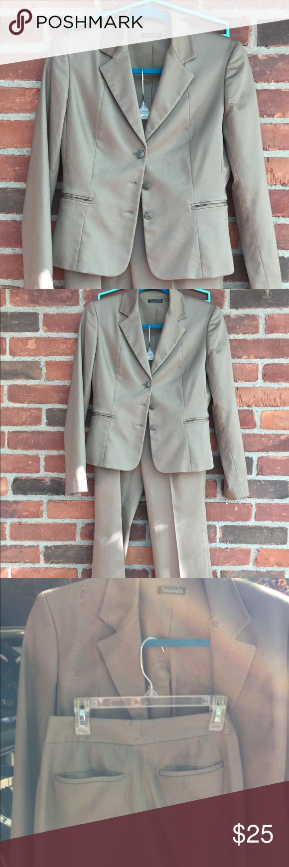 Womens  Capri Pant Suit Darker Khaki colored Capri Pant suit... it is an adorable Pant suit I just don't have anywhere to wear it! It needs s home. Seriously I have never worn it. Of course you can wear them separately or together! Taharai Jackets & Coats Blazers