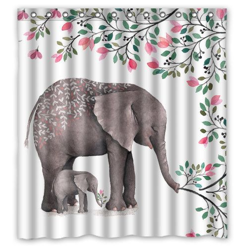 Watercolor mother and baby elephant shower curtain for Elephant bathroom accessories