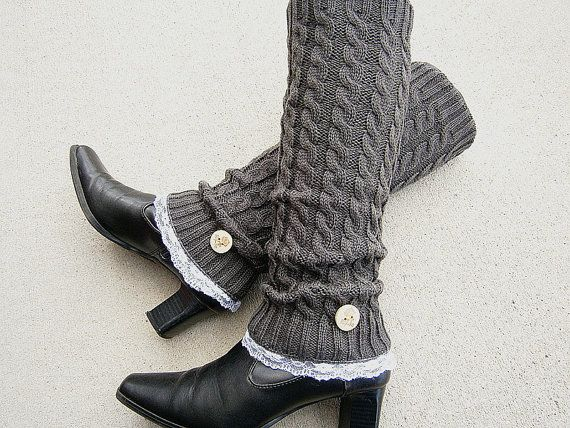 love these so much :: Dark Grey Knit Leg Warmers by knitwit321