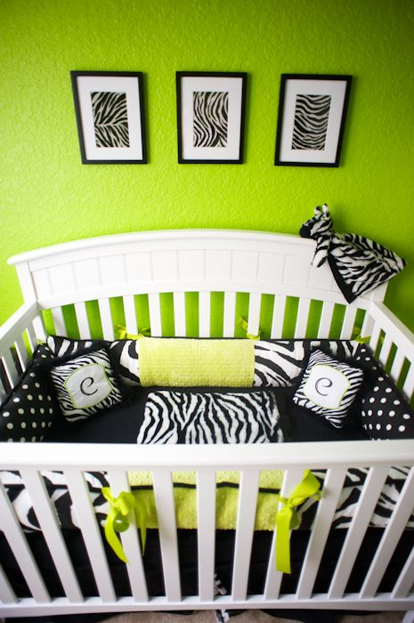 love the lime green walls & zebra.......needs some pink & black furniture