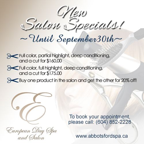 New salon specials until september 30th 1 receive a for Acappella salon temecula