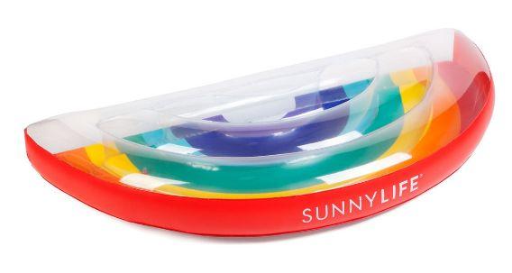 Rainbow Lie-On Jumbo Inflatable Pool Float – The Bullish Store #getbullish #pool #summer #rainbow #goals