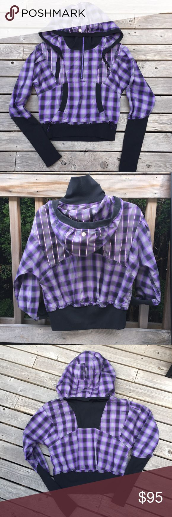 Lulu Purple Plaid Run Reflective Ponytail Pullover This is the cutest most flattering jacket ever! Lululemon purple plaid run reflection pullover jacket with half zip and kangaroo pouch pocket w/ ponytail hood. Rip tag removed, size dot 6. Normal wash wear, on the excellent condition side. Thumbholes. lululemon athletica Jackets & Coats