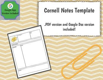 Cornell Notes Template Google Docs Version Included Secondary