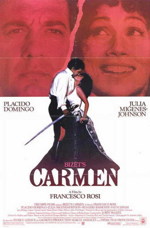 BIZET'S CARMEN Movie POSTER 11x17 Placido Domingo Julia Migenes-Johnson Ruggero