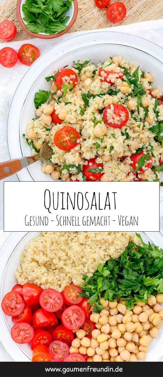 Veganer Quinoasalat mit Kichererbsen, Tomaten, Petersilie und Limettendressing -… #Rezeptideen