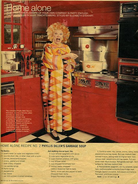Phyllis Diller's Garbage Soup recipe ad | Vintage Recipe Magazine Ads ...