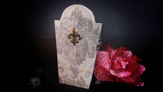 Wooden coffin wood casket, Beautiful handmade decorative boxes. Goth jewelry box, halloween candy box. Piggy bank hair accessories box. Victorian style  Hey, I found this really awesome Etsy listing at https://www.etsy.com/listing/561388073/small-coffin-casket-wooden-box-fleurs-de