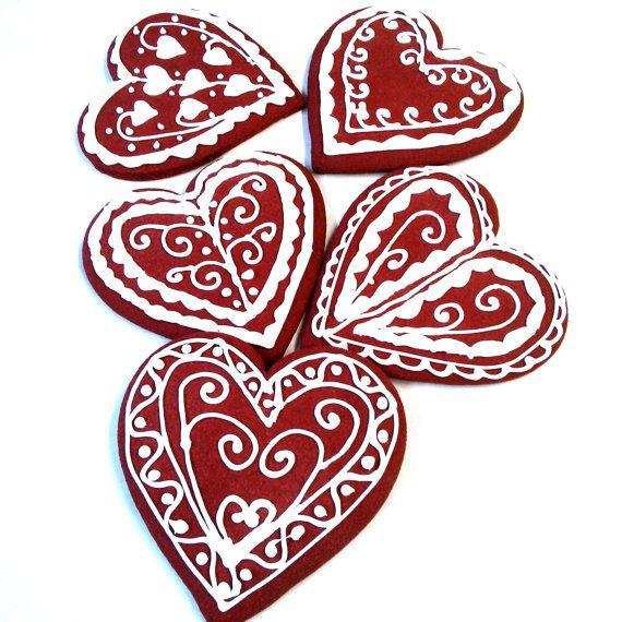 One Dozen 12 pcs. Heart Shape Red Velvet by MadameGingerbread