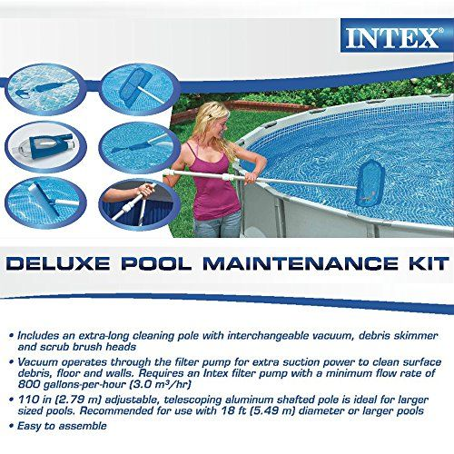 Intex Pool Maintentance Kit – Deluxe Edition  Pool Maintenance Kit – Deluxe Edition By Intex includes a pool vacuum, skimmer net, and scrubbing brush for incredibly quick and simple pool cleaning. Pool maintenance is easy with the right tools. Intex has been a leader in the recreation industry for over 40 years and is committed to designing and producing products that meet stringent safety standards. Trust Intex to keep your pool in tip top condition for your next pool party. Require..