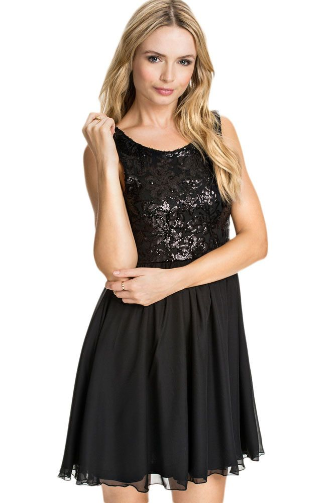 Patineuses Robes Robe Noire Floral Paillette Pas Cher www.modebuy.com @Modebuy #Modebuy #Noir #me #dress