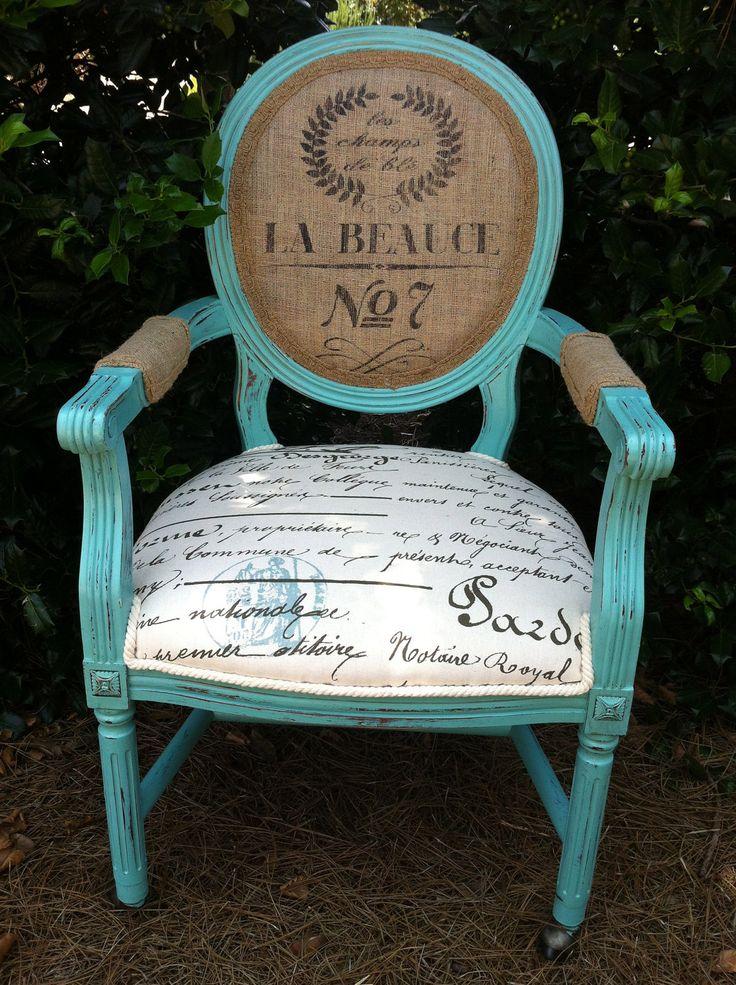 French Louis XVI Arm Chair Shabby Chic Upholstered Burlap Custom Chalk Paint Annie Sloan. $529.00, via Etsy.