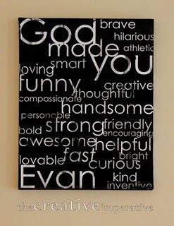 I love the idea of making one unique for each child with their own amazing God given qualities!
