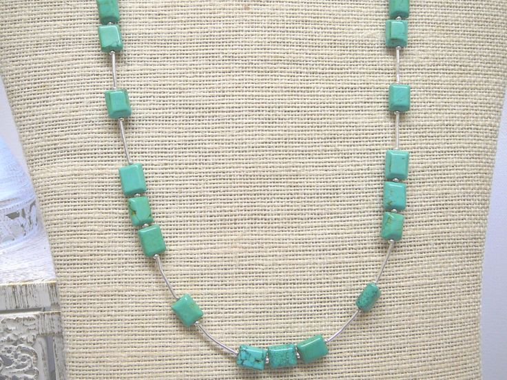 Magnesite necklace, Semi precious jewellery, Gemstone jewellery, Green necklace by KarsJewellery on Etsy