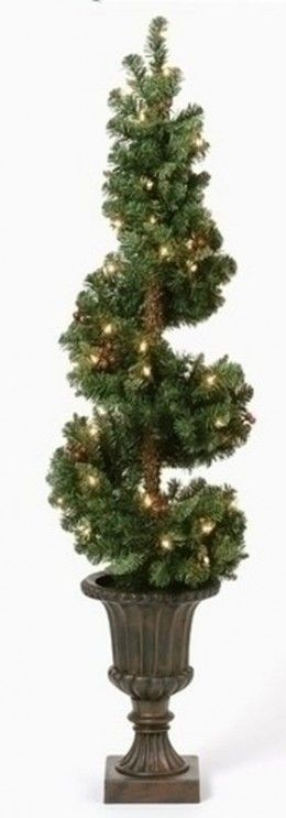 DIY Spiral Christmas Topiary (w/lights)...make with prelit artificial garland. Except these instructions aren't quite what I'm envisioning.