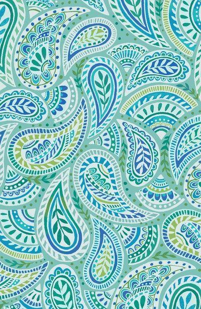 Aqua paisley Art Print
