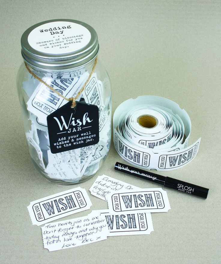 This is a new unique gift for a Wedding present, the Wedding Day Wish Jar has been designed to store wedding day wishes, words of wisdom or notes. Each Wish Jar comes complete with a roll of tickets and a pen so that you can get started straight away writing wishes for the occasion.