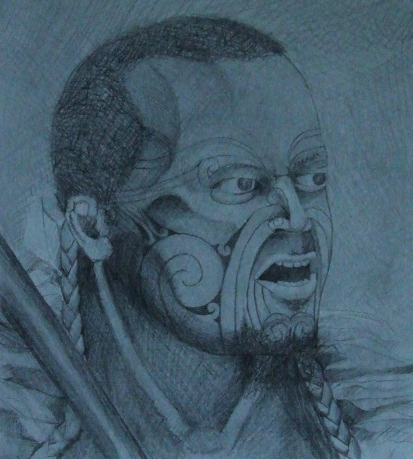 "Title: Heke ""sketch"". Personal Collection, from the series, ""The study of the Maori Warrior"". Before I commit to paint I explore the picture with pencil first."
