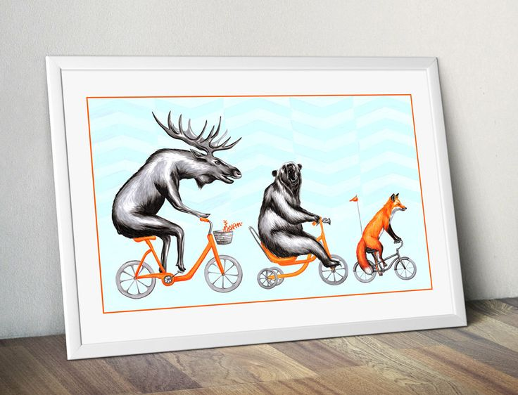 Moose, bear and fox on bicycle print, cycling animals, 12 x 18 print by AmelieLegault on Etsy https://www.etsy.com/listing/226751026/moose-bear-and-fox-on-bicycle-print