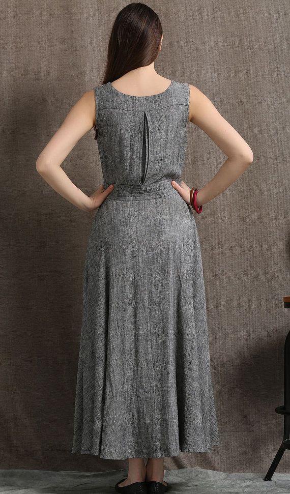 Gray Linen Maxi Dress Summer Sleeveless Grey Marl от YL1dress