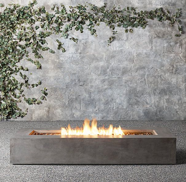 """Mendocino Natural Gas Rectangle Fire Table 56""""W x 28""""D x 12½""""H; 145 lbs. 72""""W x 28""""D x 12½""""H; 160 lbs. $1275-$2290"""