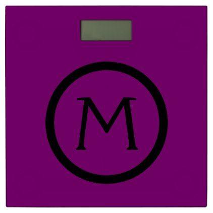 Gypsy Purple and Black Monogram Bathroom Scale - monogram gifts unique design style monogrammed diy cyo customize