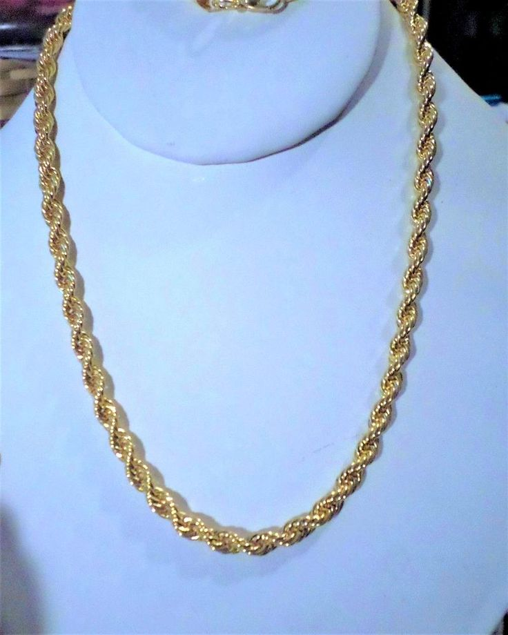 "stunning men's/women's 6mm-24"" rope chain necklace 14k gold plated  #Unbranded #Chain"