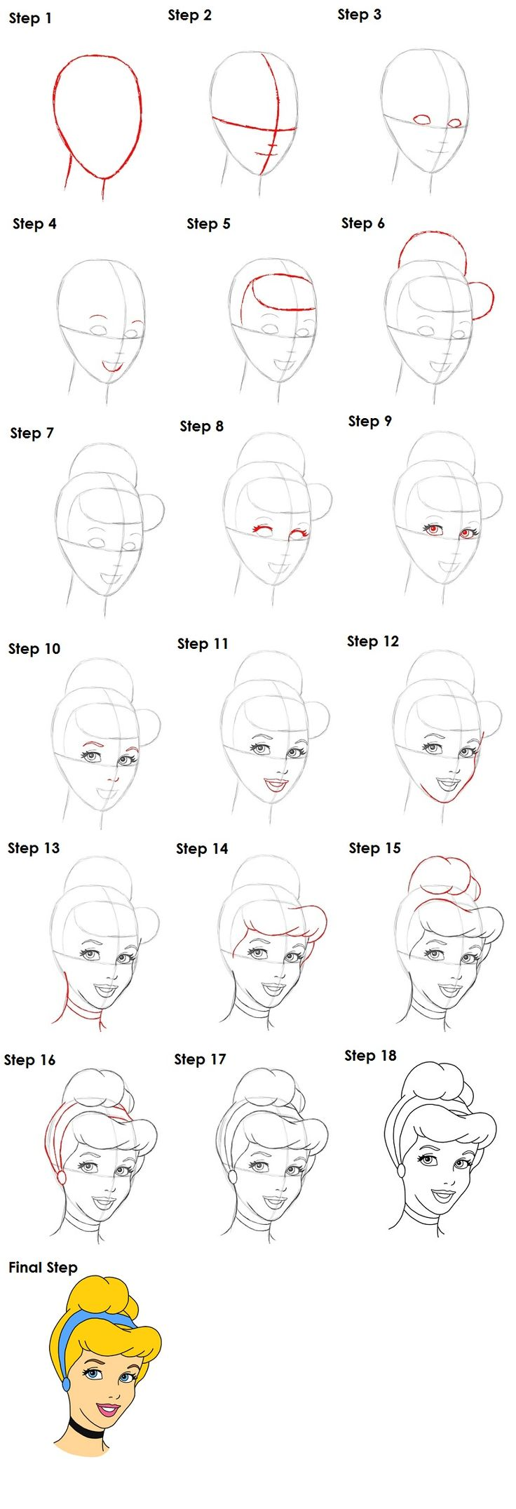 How to draw Cinderella | Disney princesses | Pinterest
