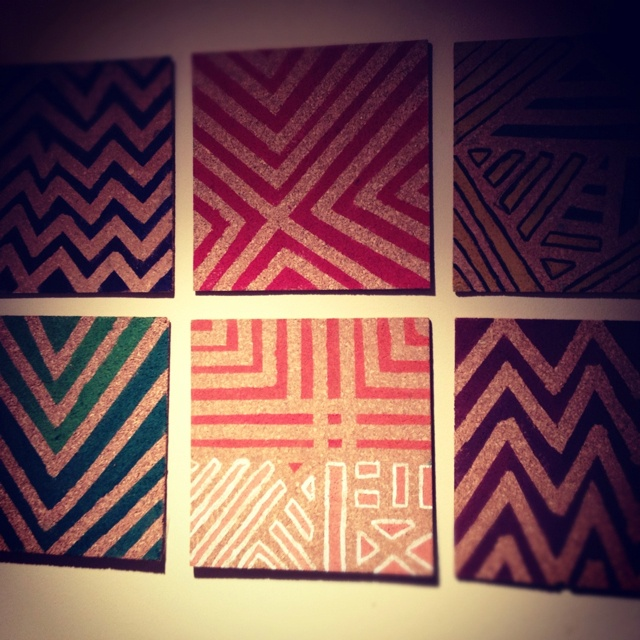 Painting Ideas With Tape: DIY Cork Boards Just Put Masking Tape On In Random Designs