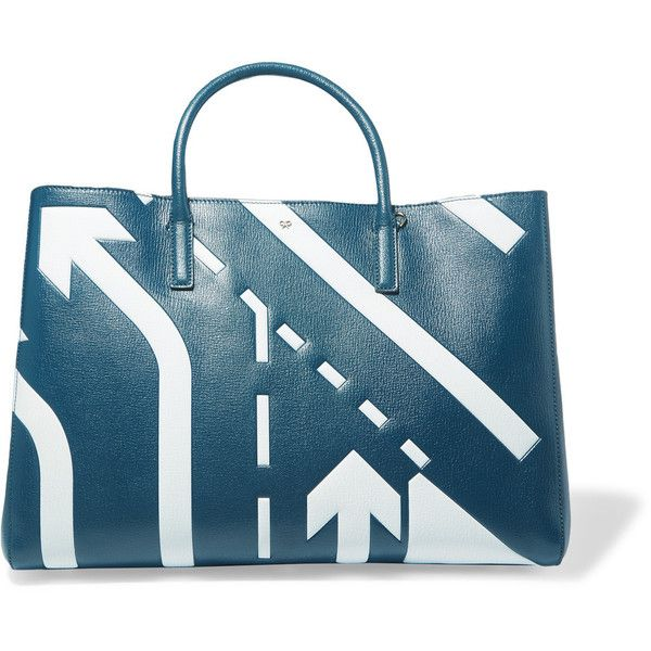 Anya Hindmarch - Ebury Printed Textured-leather Tote ($946) ❤ liked on Polyvore featuring bags, handbags, tote bags, petrol, blue purse, anya hindmarch tote bag, snap purse, tote purses and handbags totes