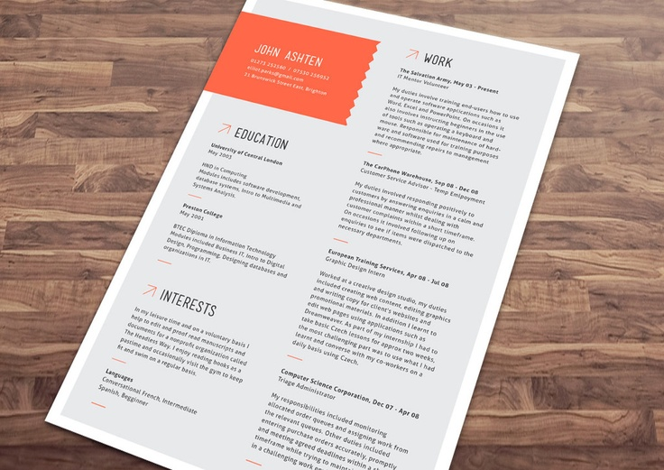 31 best Cv images on Pinterest Resume, Resume templates and Cv - resume that stands out