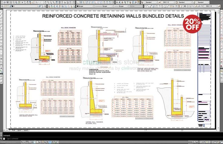 Reinforced Concrete Retaining Walls Bundled Drawing Details - design of reinforced concrete retaining walls