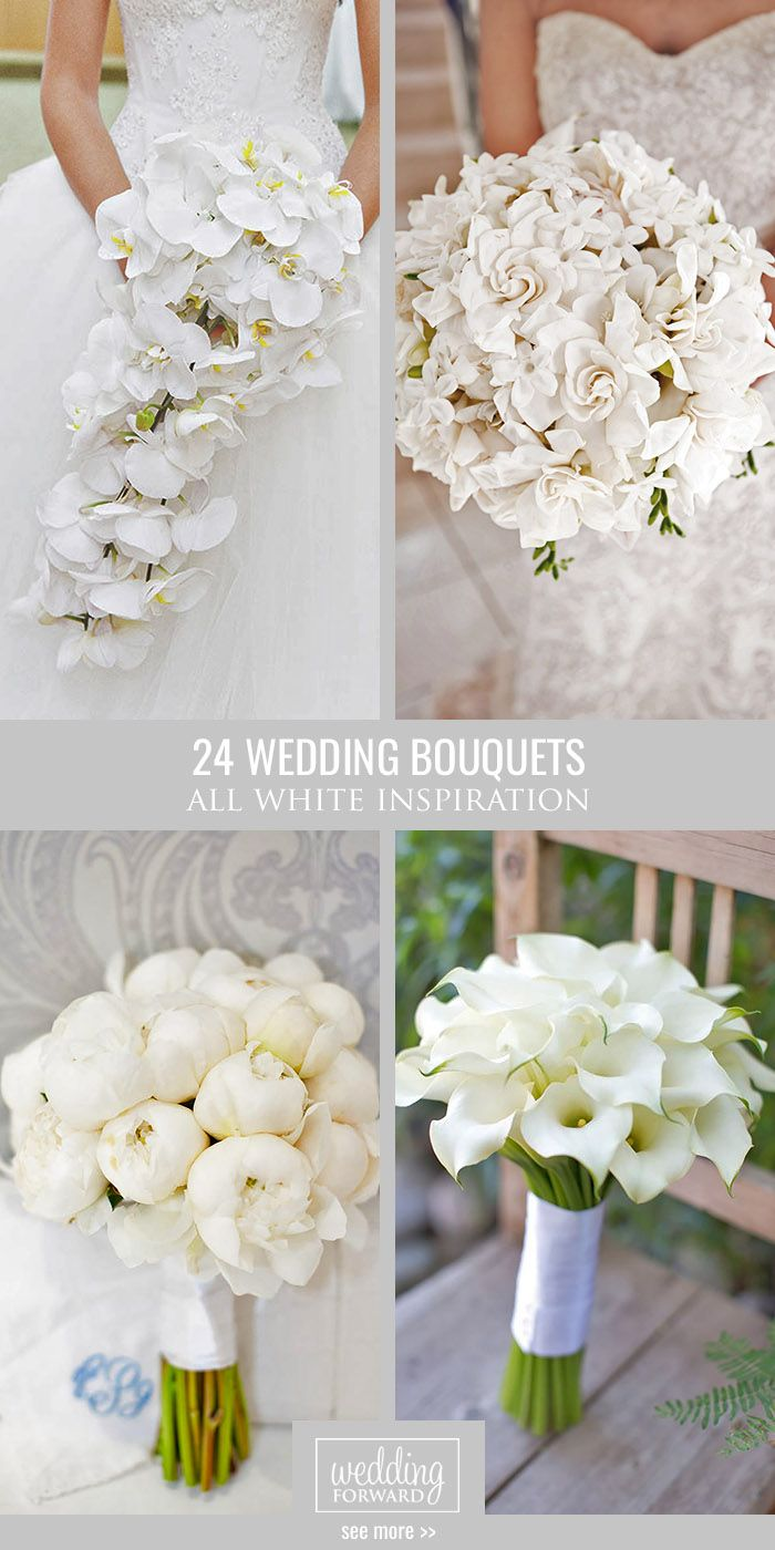 24 All White Wedding Bouquets Inspiration ❤ An all-white wedding bouquet is a staple of any gorgeous wedding. See more: http://www.weddingforward.com/white-wedding-bouquets-inspiration/ #weddings #bouquet