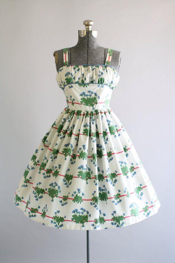 Jahrgang der 1950er Jahre Kleid / 50er Jahre Kleid Baumwolle /