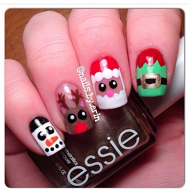 Christmas nails! Santa, frosty, snowman, Rudolph, reindeer and an elf