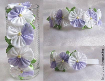 """Ободок """"Анютины глазки"""" (канзаши) - ободок с цветами,ободок для волос"""