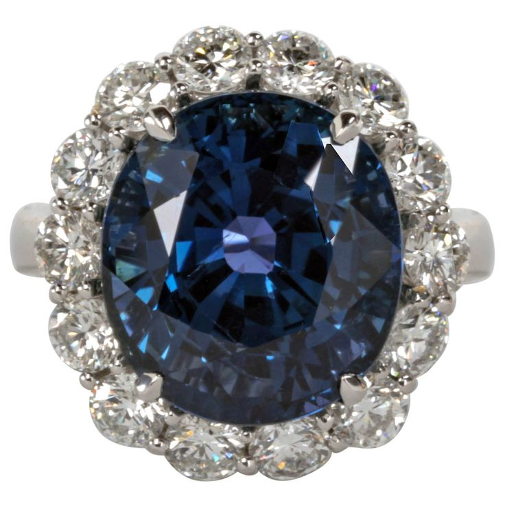 Rare Natural No Heat GIA Certified 13 Carat Cushion Sapphire Diamond Ring | 1stdibs.com