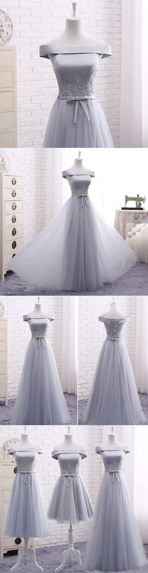 Little Cute | Elegant A line gray off shoulder long prom dress, short evening dresses | Online Store Powered by Storenvy