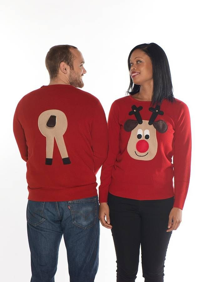 Funny Christmas Sweaters for Women | Matching Christmas Sweaters For Couples Matching rear end rudolph
