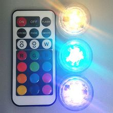 20 stks Bruiloft LED Decoratie Afstandsbediening Dompelpompen LED Thee Mini Licht Met Batterij Party Tafel Kerst Vaas Waterpijp Shisha(China (Mainland))