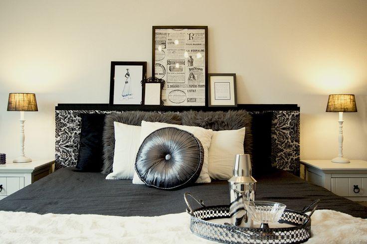 Chanel inspired bedroom for Fashionista! 2 persoonsbed met nachtkastjes De Berkelaer Wonen, kussens en plaid Jysk, dienblad Xenos, lijsten Ikea en Karwei