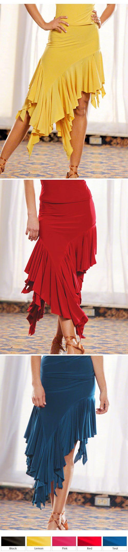 Dance America S304 - Asymmetric Flounced Latin Dance Skirt